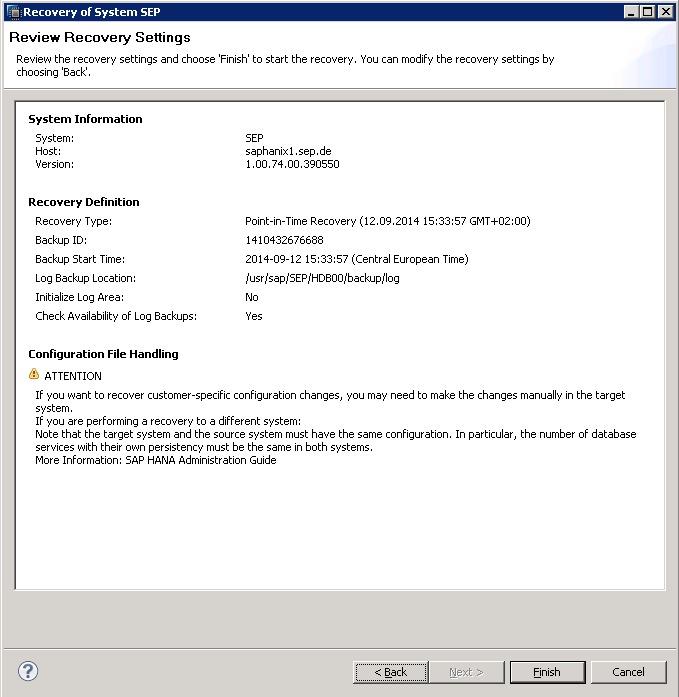 4 4 3 Tigon:SAP HANA Restore - SEPsesam